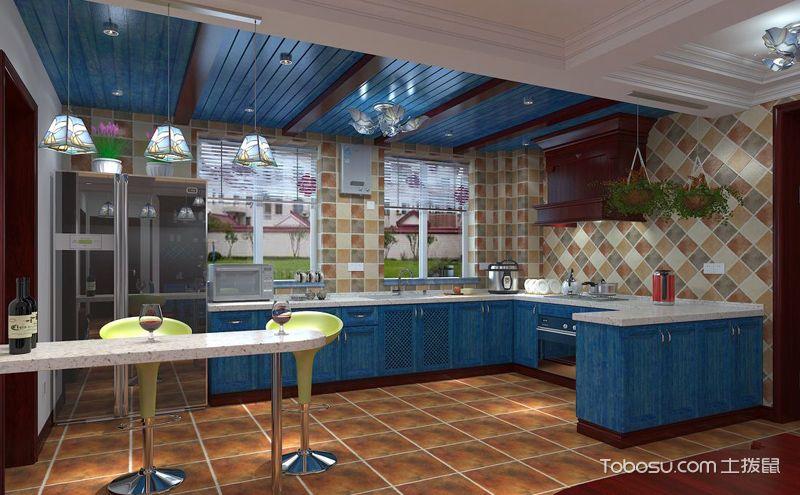淡蓝色橱柜装修实景图,这样的厨房最清新