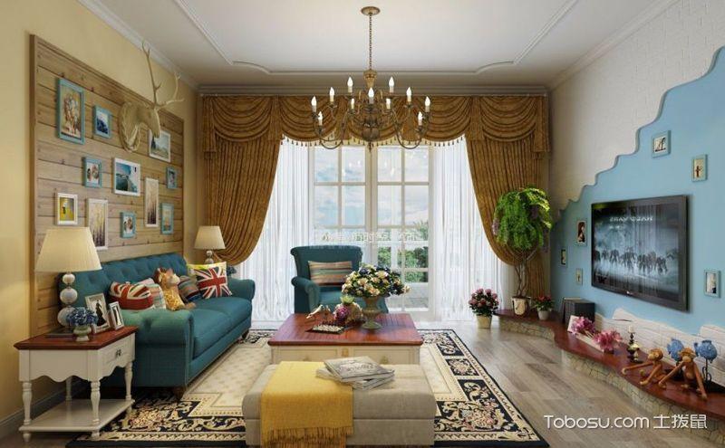 地中海风格窗帘装潢效果图,用色彩改变空间