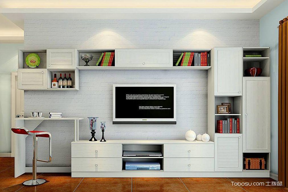 现代简约风格的组合电视柜装潢图中,我们会看到背景墙是白色文化墙图片
