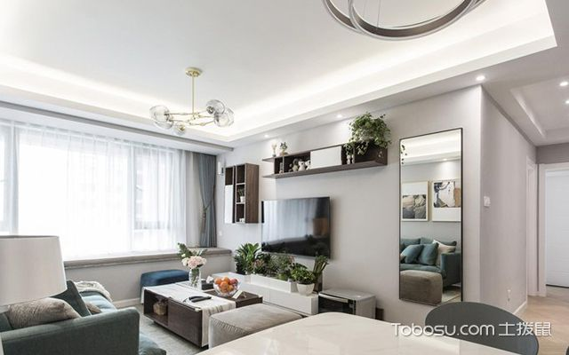 90平米三室两厅案例—客厅设计