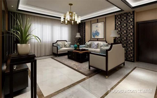 咖啡色沙发背景墙之新中式风格