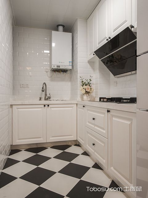 L型小厨房装修图之美式L型厨房