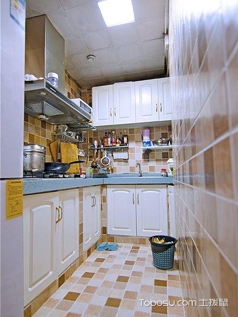 L型小厨房装修图之地中海L型厨房