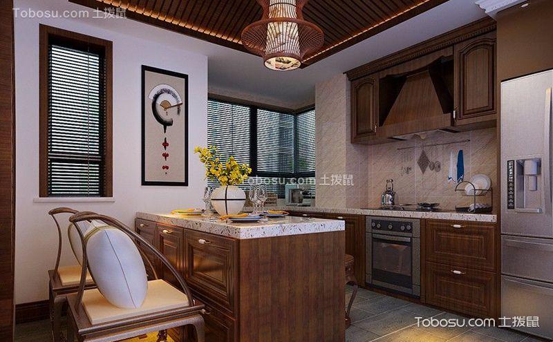 中式厨房装饰实景图,沉稳之间彰显雅韵