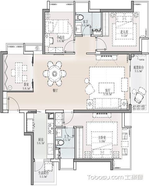 18平米四室两厅设计的户型图