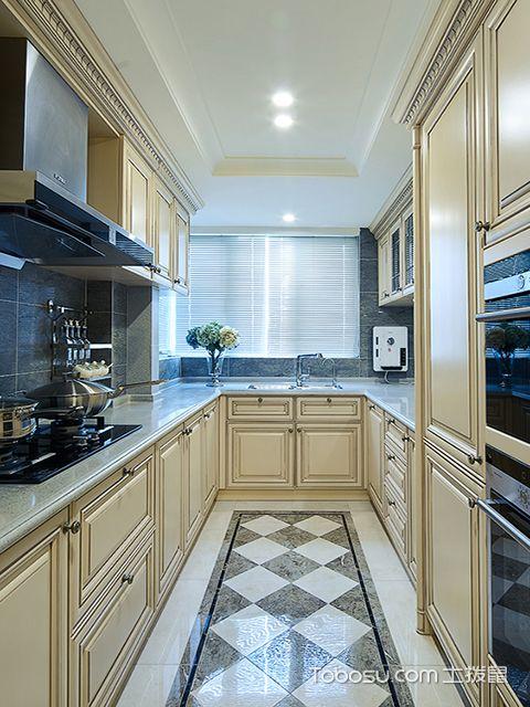 欧式风格厨房装修效果图之U型欧式厨房设计