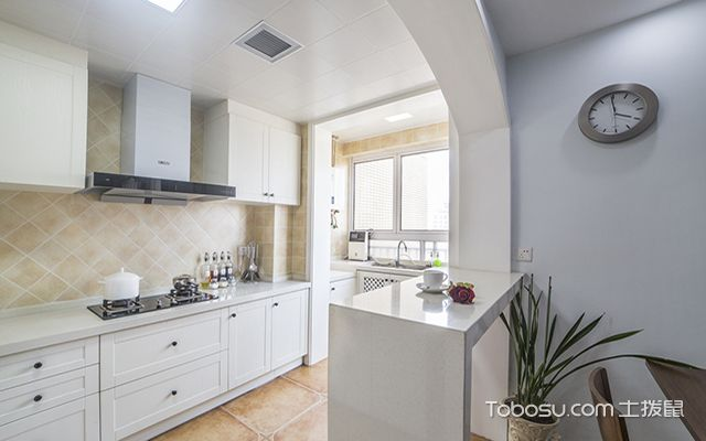 欧式风格厨房装修效果图之一字型欧式厨房设计