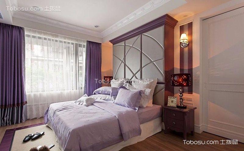 淡紫色卧室装修实景图,多一抹神秘气息