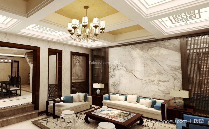 三层别墅装饰案例,中式U乐国际也有浪漫情调