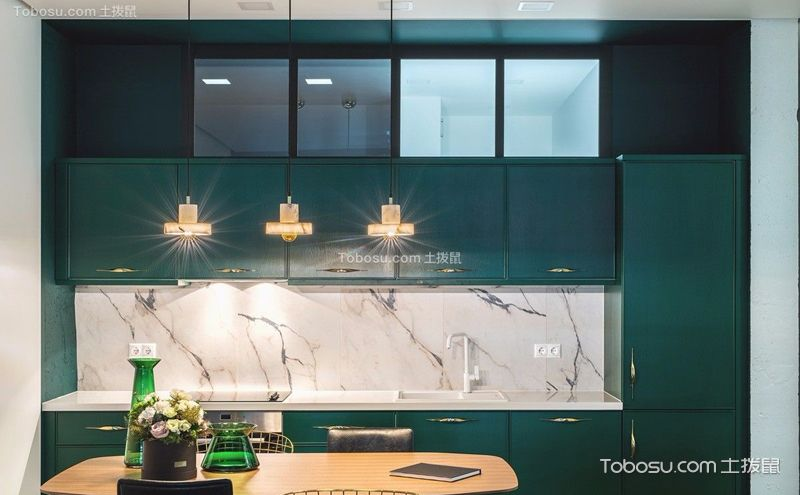 绿色厨房装潢效果图,做饭也得有养眼环境