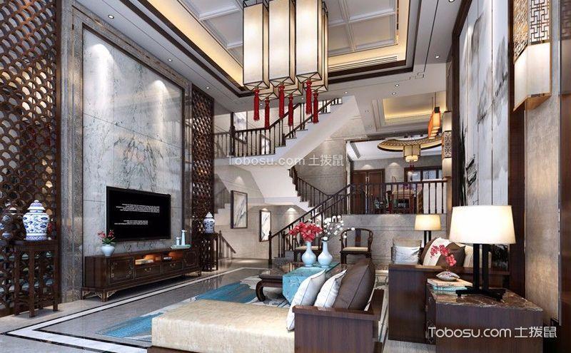 新中式別墅客廳裝飾圖片,現代家裝中的古典美
