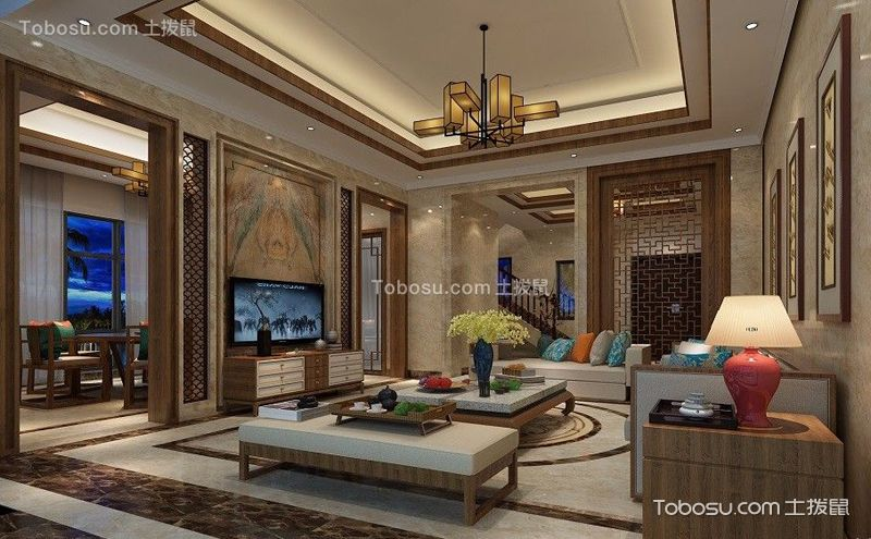 中式客廳電視背景墻裝飾圖,古典文藝的新演繹