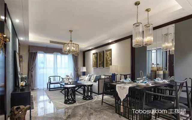 126平米三房新中式装修案例,惊艳了时光的轻奢质感空间图片