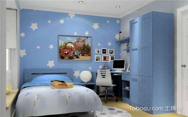 儿童房浅蓝色壁纸