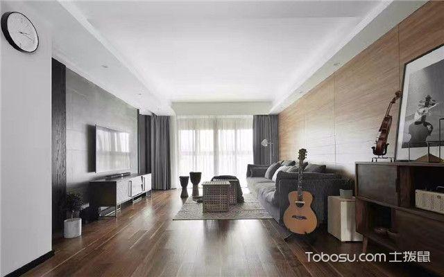 深色木地板装修效果图之灰色窗帘