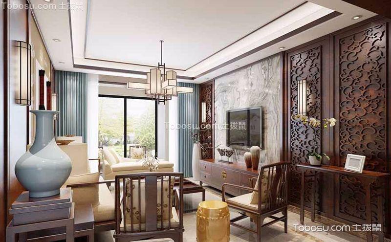 中式客厅灯饰实景图,光影斑驳古韵悠然