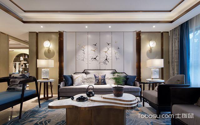 新中式风格设计案例—沙发背景墙
