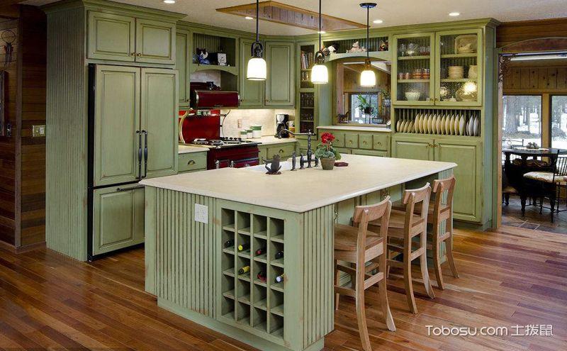 绿色橱柜装潢效果图,满眼都是清新惬意