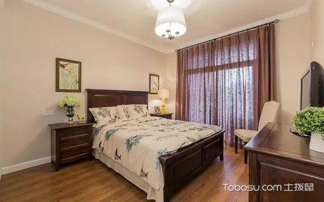 卧室窗帘2018最新效果图之美式卧室窗帘效果图图片