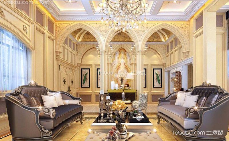 欧式三层别墅装潢图,华美的金色世界