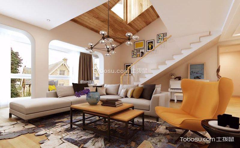 楼中楼客厅吊顶装修案例,非同一般的视觉效果