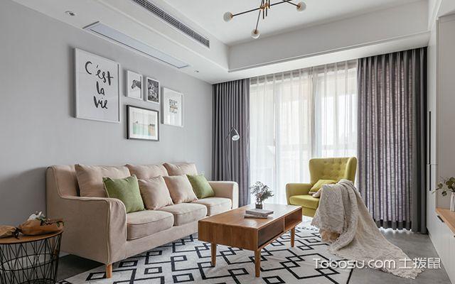 90平米两室两厅装修案例—客厅