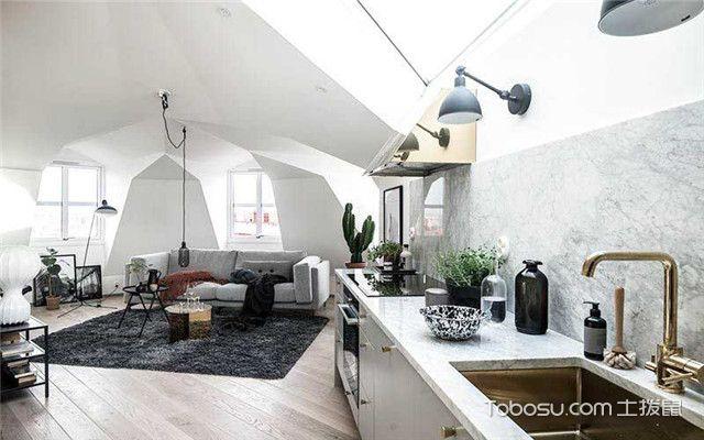 90平北欧风公寓装修设计之从厨房看客厅