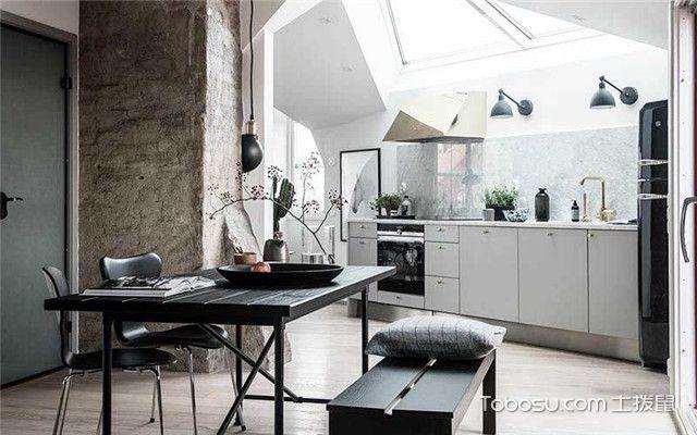 90平北欧风公寓装修设计之从餐厅看厨房