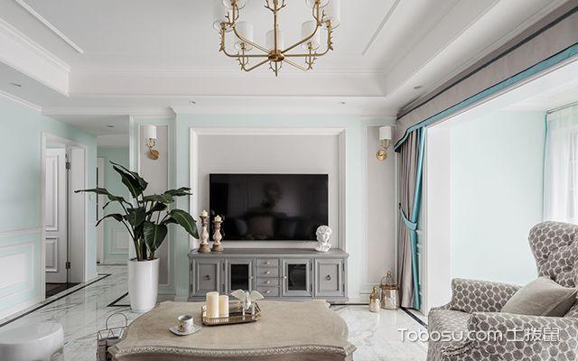 120平四室两厅装修案例—客厅