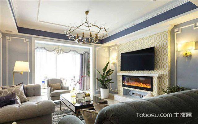 三室两厅美式风格家装设计之客厅