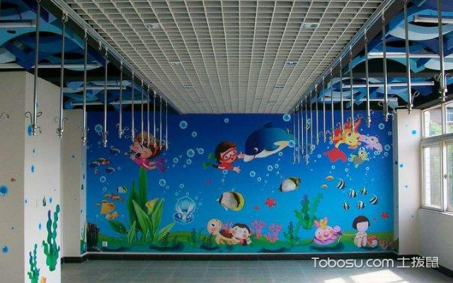 幼小男园顺手绘墙图片 架设配