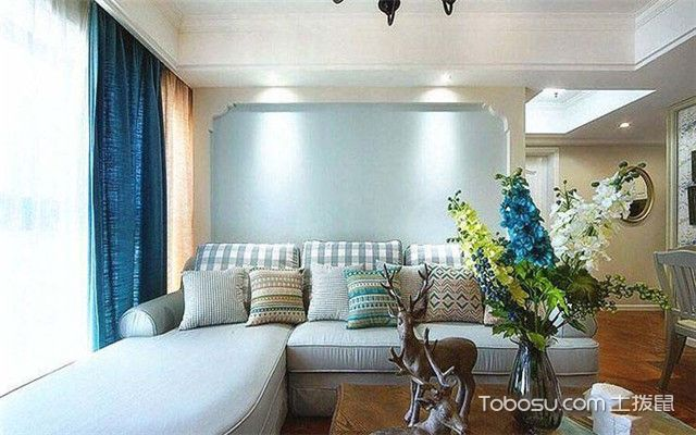 90平米现代美式风格装修设计之沙发墙