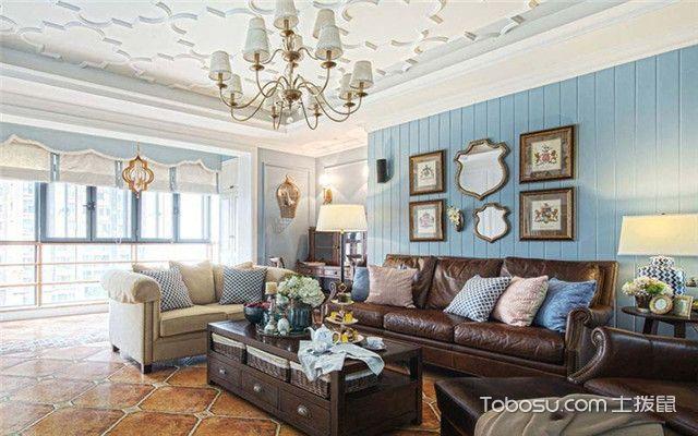 四室两厅美式风格装修案例之近看客厅