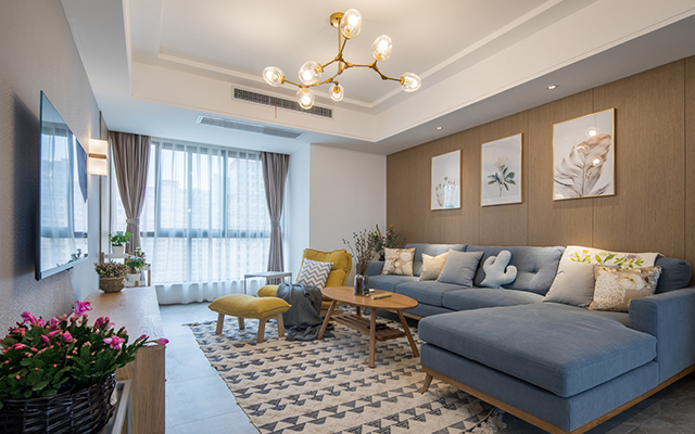 110平三室两厅满足案例,原木色舒适风装修你的简约背景电视需求墙淡绿色图片