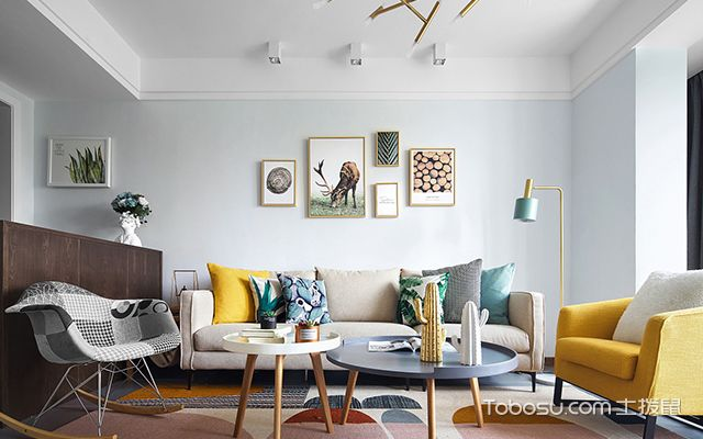北欧风格四室两厅装修案例—客厅1