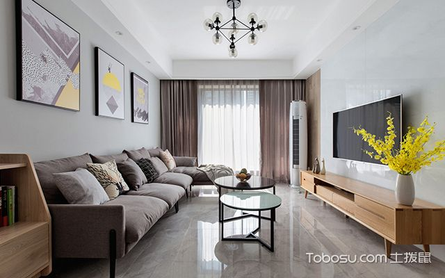 89平三室两厅装修案例—客厅