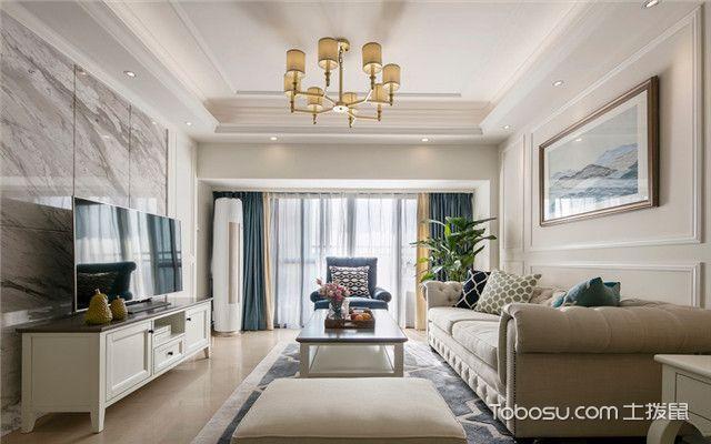 140平美式风格四居室装修案例之客厅