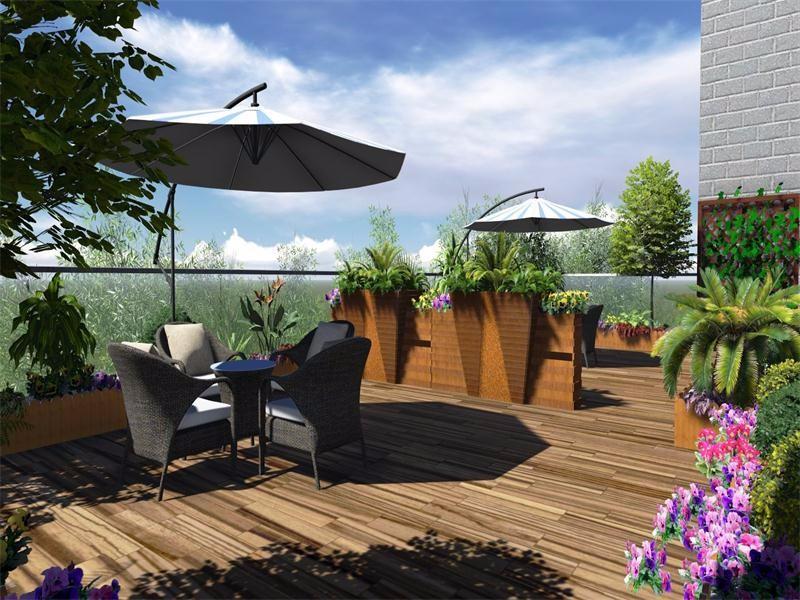 楼顶花园装修效果图,你家的楼顶也可以这么装