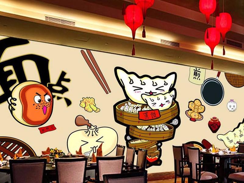 饺子店装修效果图,如果想开家饺子店这样装修肯定不亏!