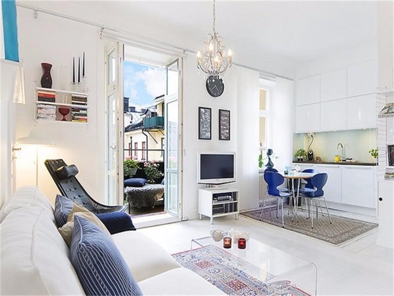 一室一厅装修案例,纯白色调打造的阳光小屋
