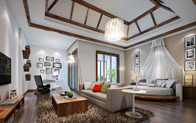 尖顶卧室装修,重在天花的构造