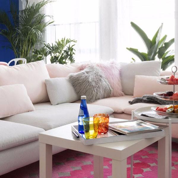 100平小三房装修效果图,粉色与蓝色的完美搭配!