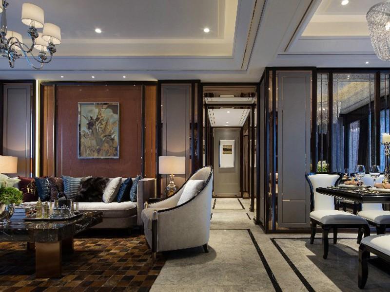 利港银河广场四室两厅155㎡新中式风格装修效果图