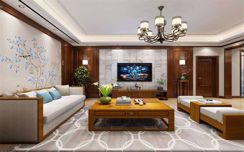 新华城南郡123平米新中式风格二居室装修效果图