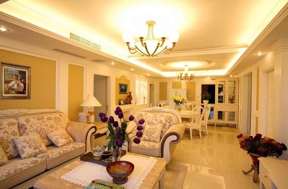 世贸城117平欧式风格三居室装修效果图