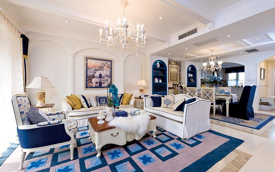 144平三居室地中海风格装修效果图