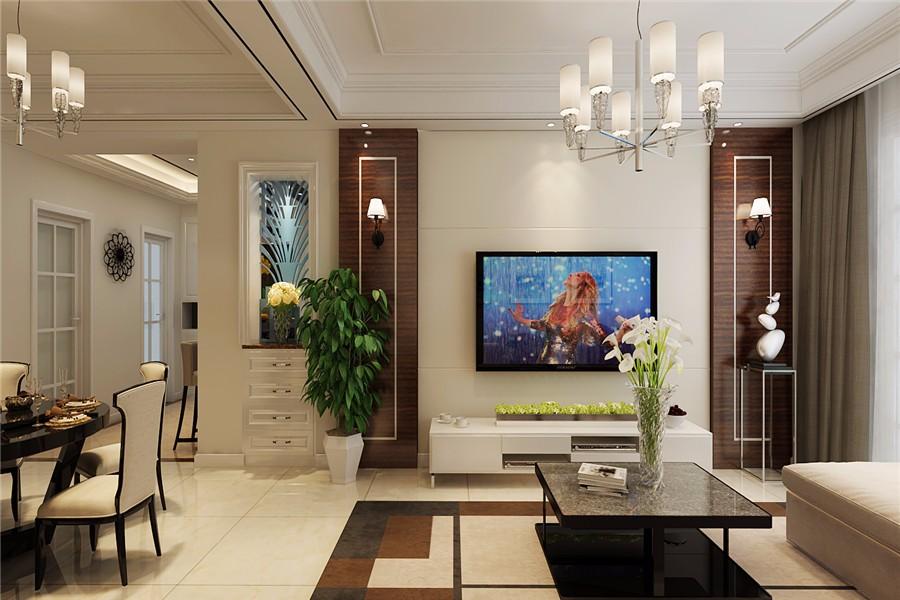 國開公館89平美式風格三居室裝修效果圖