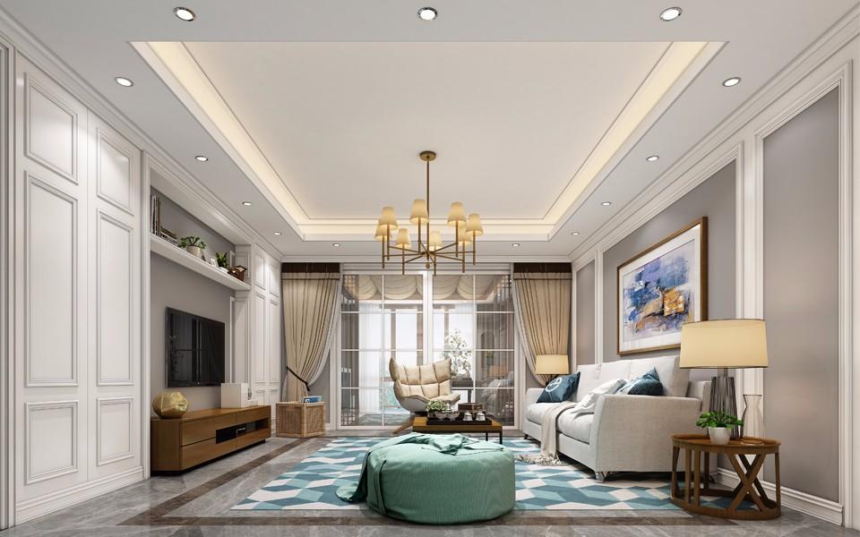 水木澜山120平方三室两厅简欧风格装修效果图
