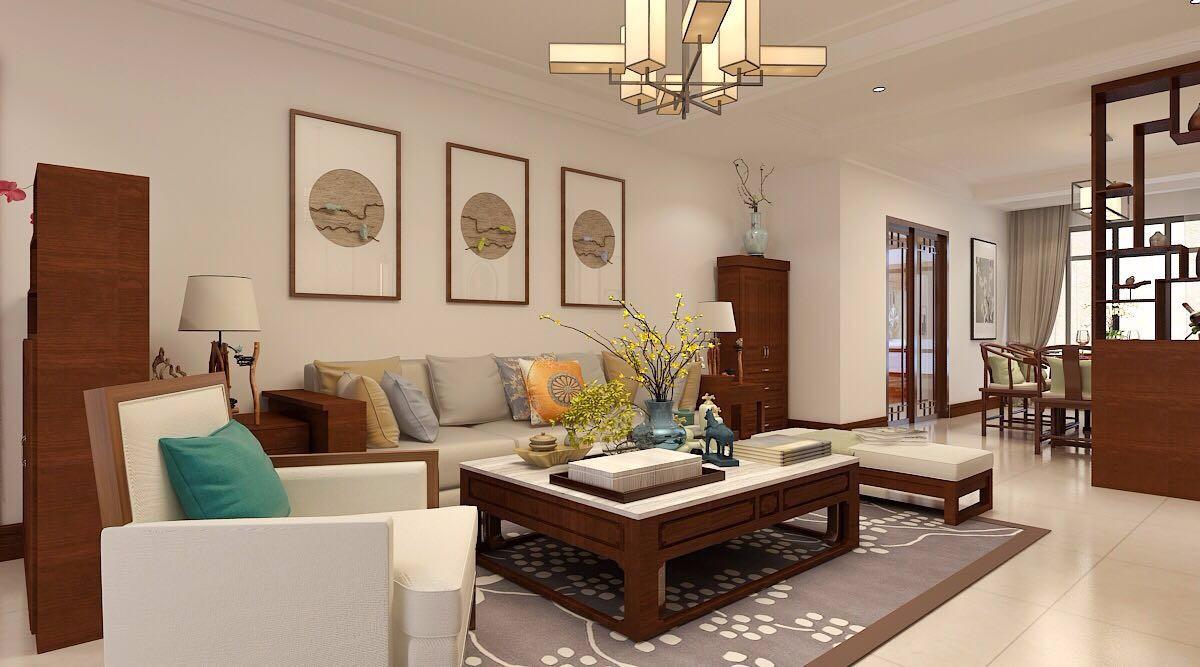 河大22号院新中式风格三室142平米装修效果图