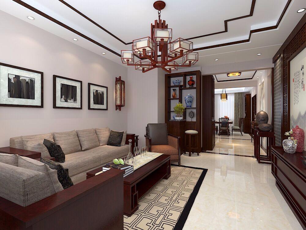 中铁逸都148㎡新中式三居室装修效果图